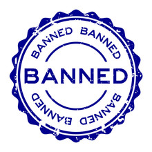 Grunge Blue Banned Word Round Rubber Seal Stamp On White Background
