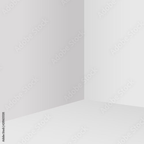 Empty white room corner. Minimalistic studio background. Interior corner view template. Abstract architecture background.