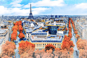 FototapetaBeautiful Digital Watercolor Painting of the steets of Paris, France with the Eiffel Tower in the background.