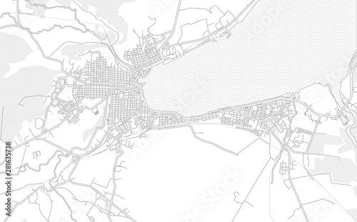 Matanzas, Matanzas, Cuba, bright outlined vector map Wallpaper Mural