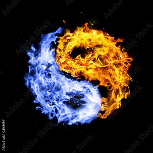 Fotografie, Obraz  fire yin yang symbol, orange and blue,isolated on black background