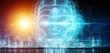 Leinwandbild Motiv Robotic woman cyborg face representing artificial intelligence 3D rendering