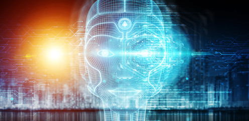 Robotic woman cyborg face r...
