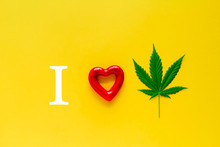 Marijuana And Red Heart On A Y...