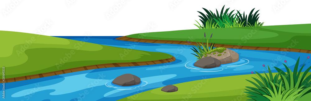 Fototapeta Landscape background with river in park