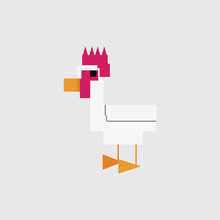 Cute 8 Bit Rooster Vector Illu...