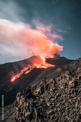 Fotografiet Spectacular eruption of the Volcano Etna