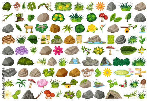 Poster Blanc Set of isolated objects theme - gardening