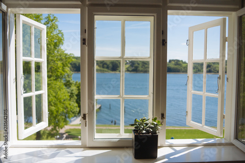 Lake view from open windows Fototapeta