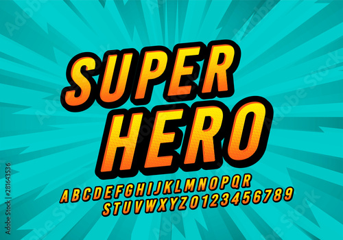 Vector Super Hero Comic Fun Font. Retro Cartoon Design Letters And Numbers Alphabet.