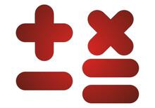 Símbolos Rojos De Sumar, Restar Y Multiplicar.