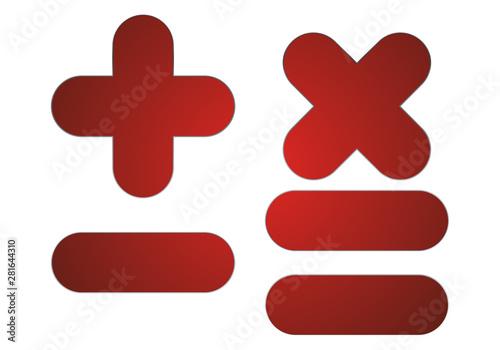 Símbolos rojos de sumar, restar y multiplicar. Canvas Print