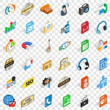 Hi Fi Icons Set. Isometric Style Of 36 Hi Fi Vector Icons For Web For Any Design