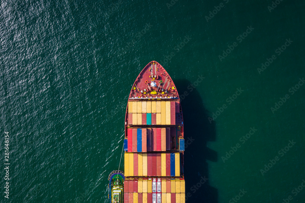 Fototapety, obrazy: container ship import and export business and logistics shipping cargo open sea transportation international aerial view