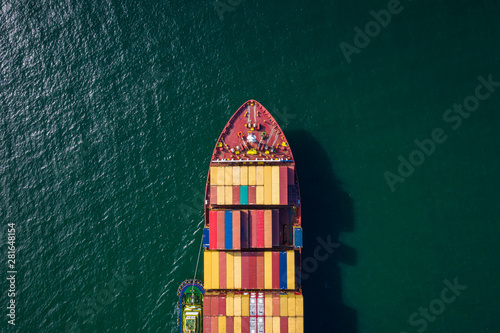 Foto auf AluDibond Shanghai container ship import and export business and logistics shipping cargo open sea transportation international aerial view