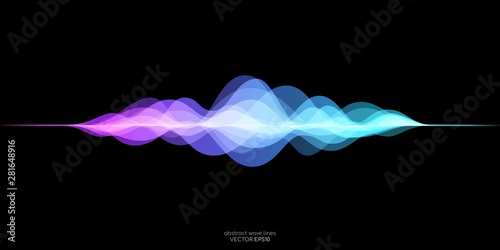 Fototapeta abstract motion sound wave equlizer colorful purple blue green isolated on black background. Vector illustration in concept of sound, voice, music obraz