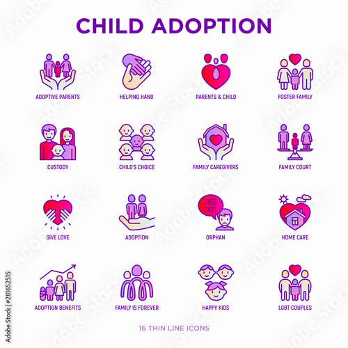 Child adoption thin line icons set: adoptive parents, helping hand, orphan, home care, LGBT couple with child, custody, cargivers, happy kid Canvas Print