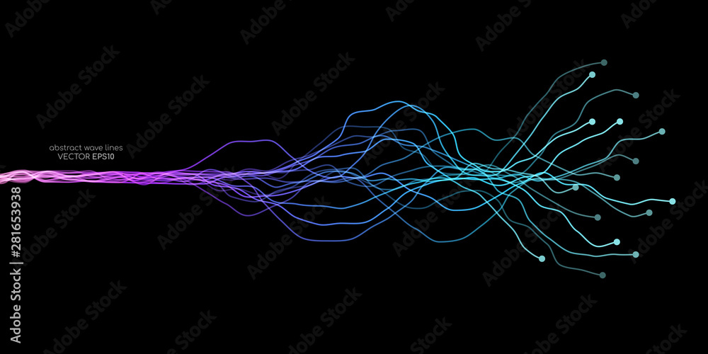 Fototapeta AI Artificial intelligence wave lines neural network purple blue and green light isolated on black background. Vector in concept of technology, machine learning, A.I.