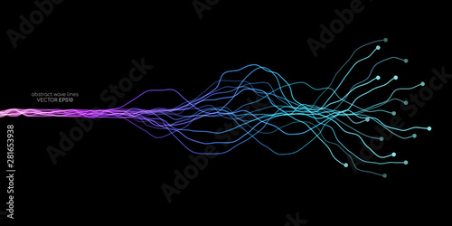 Fototapeta AI Artificial intelligence wave lines neural network purple blue and green light isolated on black background. Vector in concept of technology, machine learning, A.I. obraz