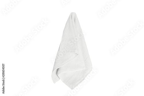 white towel hanging isolated on white background Fototapeta