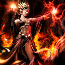 Demoness In A Black Dress With Burning Eyes In A Revealing Dress, Conjures Flames In The Middle Of A Gothic Temple. 3D Illustration.