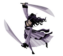 Strong Asian Warrior Female Woman With Two Katana Blades