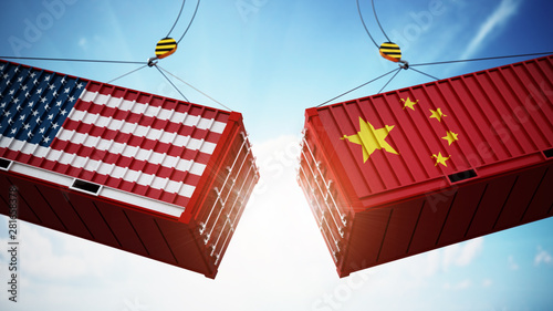 Trade wars concept with American and Chinese flag textured cargo containers clashing Canvas Print