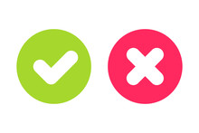 Green Tick And Red Cross Signs For Yes And No Buttons. Pixel Perfect