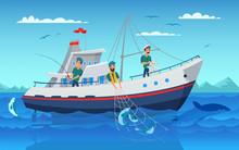 Fishing In Boat Flat Vector Illustration