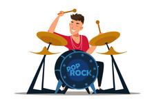 Professional Drummer Flat Vector Illustration