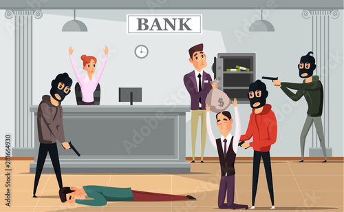 Fotomural Bank robbery crime flat vector illustration