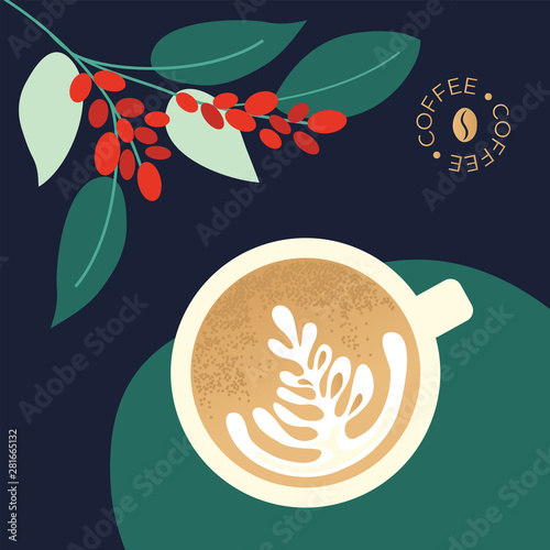 Fotografija Vector illustration of cup of cappuccino and branches of coffee plant with leaves and berry