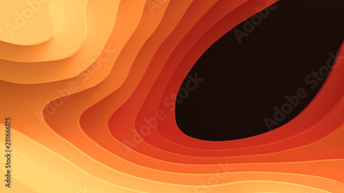 Türaufkleber Koralle 3D Landscape Paper Cut style, Curved shapes with warm hot color gradients, blank space, abstract geometric lines pattern background art illustration for cover design, book, poster, flyer
