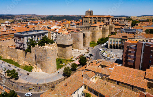 View from drone of fortified city of Avila with Cathedral