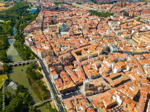 Panoramic view from the drone on the city Palencia. Spain