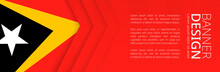 Banner Template With Flag Of East Timor For Advertising Travel, Business And Other.
