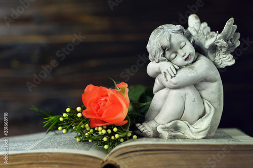 Little angel and flowers on the book Fototapeta
