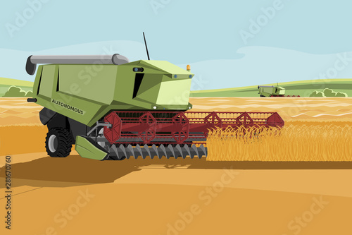 Aufkleber - Autonomous harvester working on a smart farm. Vector illustration
