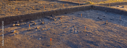 Photo archaeological excavations, remains of the settlement, the scythians fossils