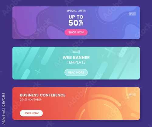Fototapeta Colorful web banner with push button. Collection of horizontal promotion banners with gradient colors and abstract geometric backdrop.Header design. Vibrant coupon template. Vector eps 10 obraz