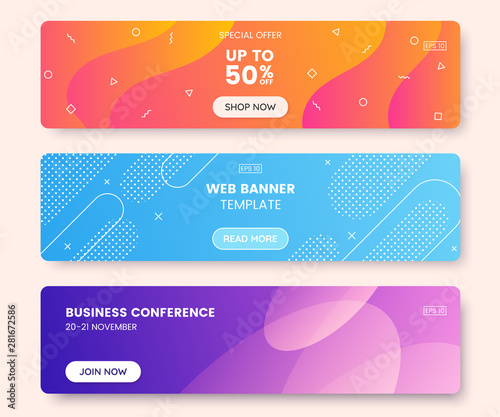 Fototapeta Colorful web banner concept with push button. Collection of horizontal promotion banners with gradient colors and abstract dynamic shapes. Header design for website. Vibrant background. obraz