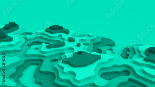 In de dag Groene koraal 3D Landscape Paper Cut style, Curved shapes with bluegreen gradients, blank sapce, abstract geometric lines pattern background art illustration for cover design, book, poster, flyer