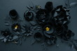 canvas print picture - Black paper flowers on Black background. Cut from paper.