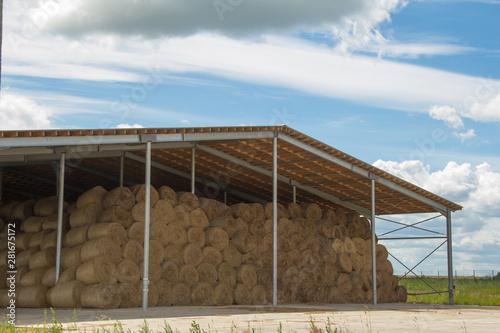 Carta da parati Winter stocks. The hay storage shed full of bales hay on farm.