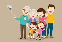 Elderly Making Selfie Photo With Family