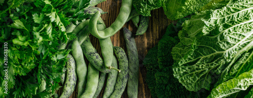 Green vegetables, beans, parsley, food background, long banner