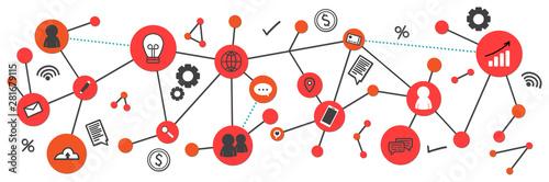 Network and social media marketing banner Wallpaper Mural