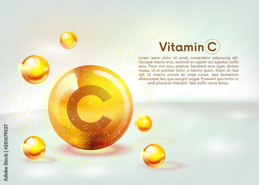 Fototapeta Vitamin C gold shining icon. Ascorbic acid. Shining golden substance drop. Nutrition skin care. Vector.