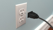 Power Cord Plugging Into A Wall Socket - 3D Rendering