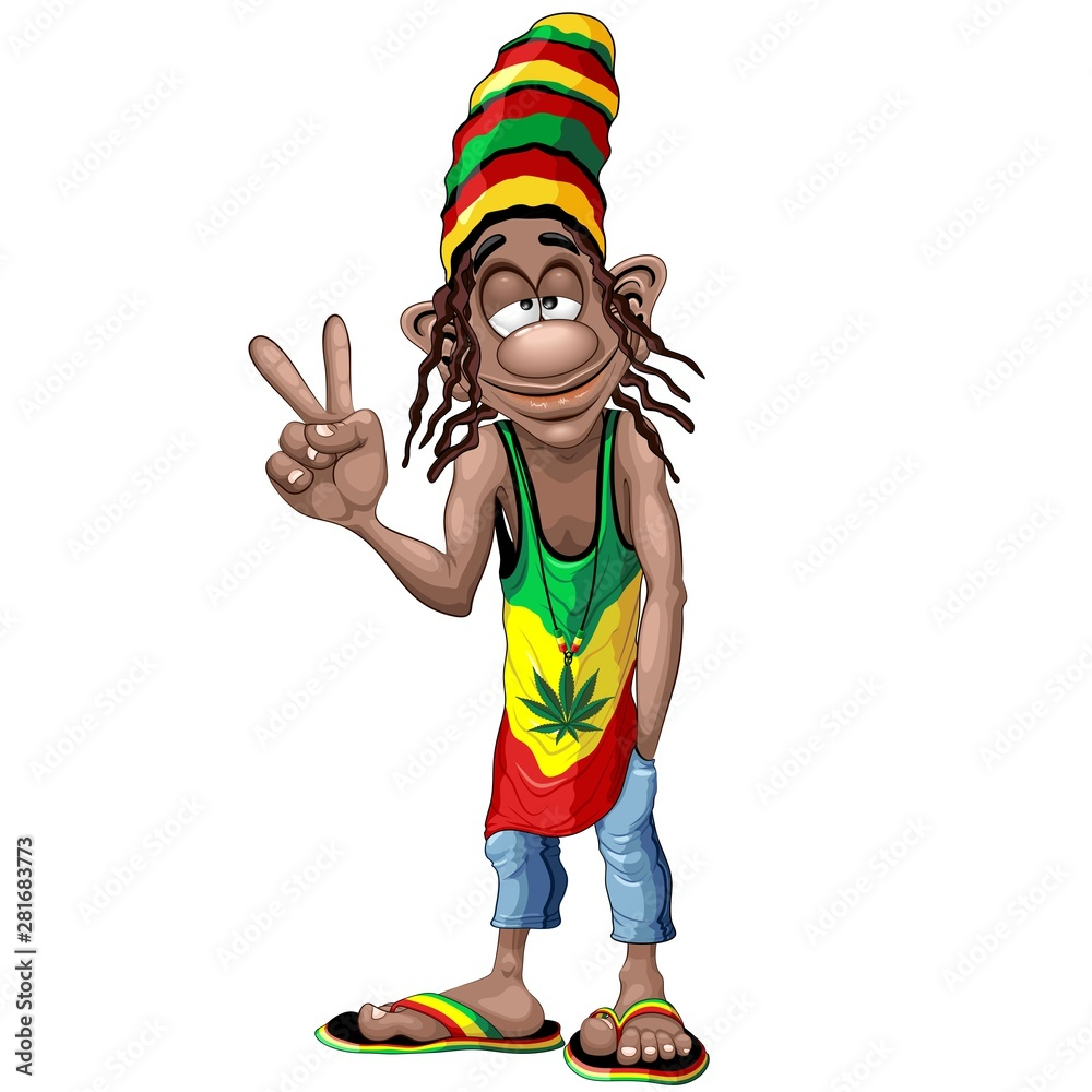 Fotografie, Obraz  Rastafari Cool Peace Sign Cartoon Character Vector Illustration